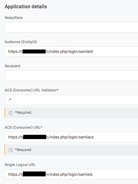 Team Password Manager SP details in OneLogin