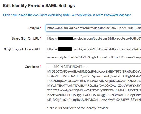 OneLogin SAML IdP details in Team Password Manager