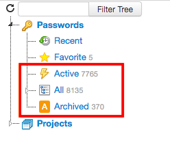 Tree branches to filter archived and active passwords