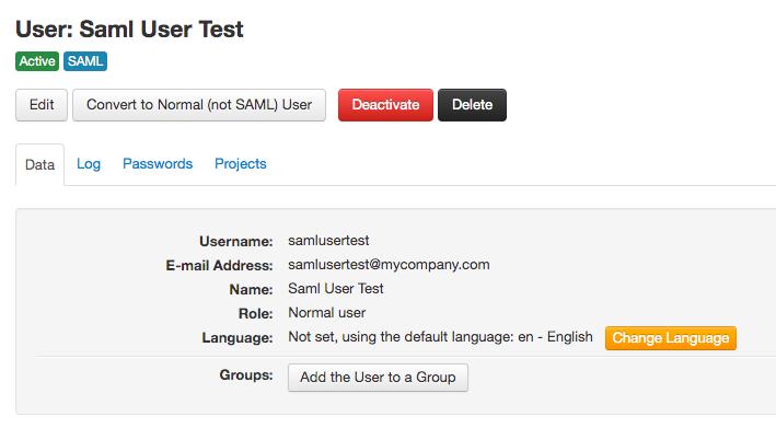 A SAML user