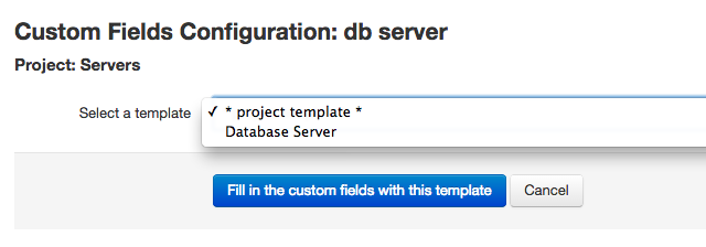 Selecting a custom fields template