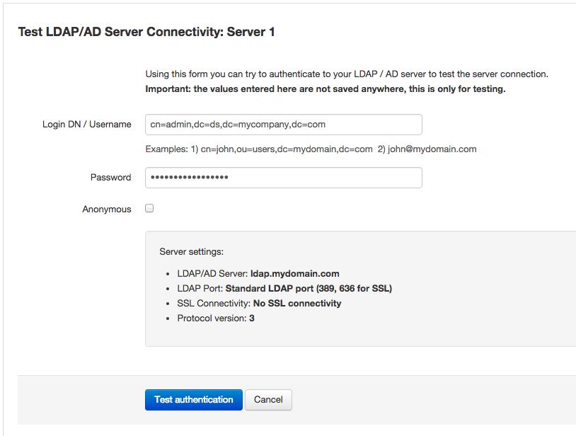 LDAP server connection testing