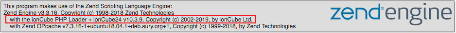 Ioncube loader installed