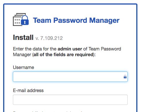 Team Password Manager installation screen