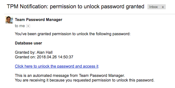 Permission to unlock a password granted