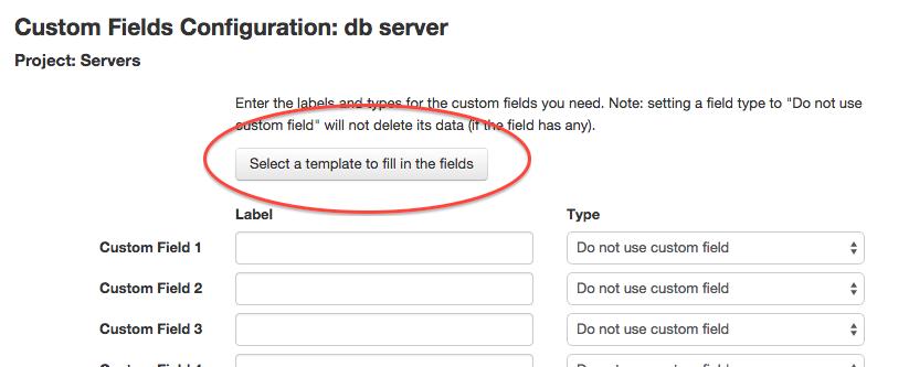Using a custom fields template