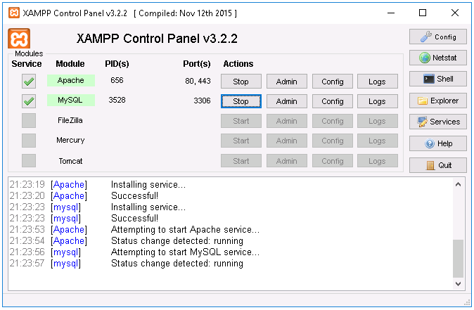 XAMPP control panel running