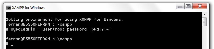 XAMPP set MySQL root