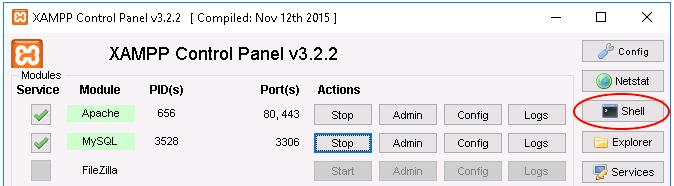 XAMPP shell button