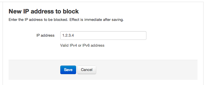Manual IP Address Blocking