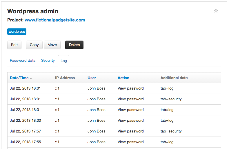 Log tab in password in Team Password Manager