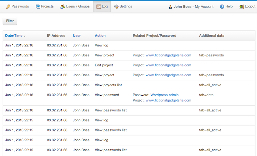 Main logging screen in Team Password Manager