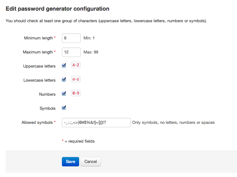 Password generator configuration