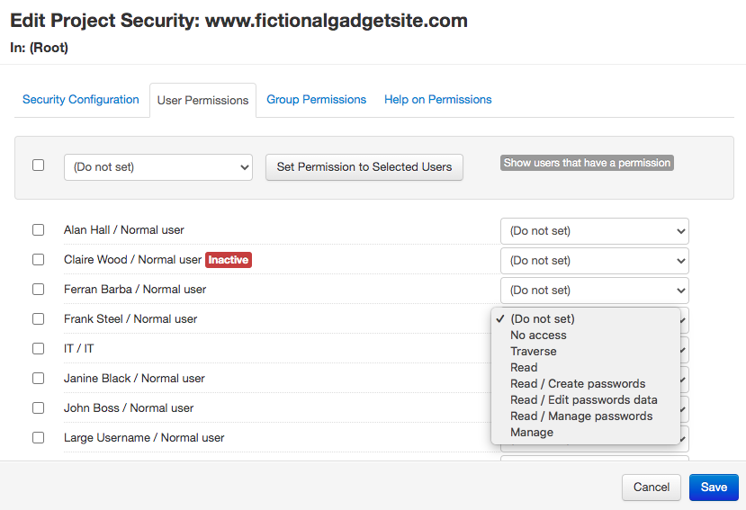 Project security in Team Password Manager