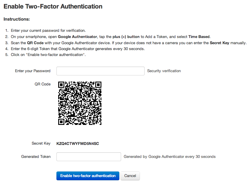 Two-factor authentication in Team Password Manager