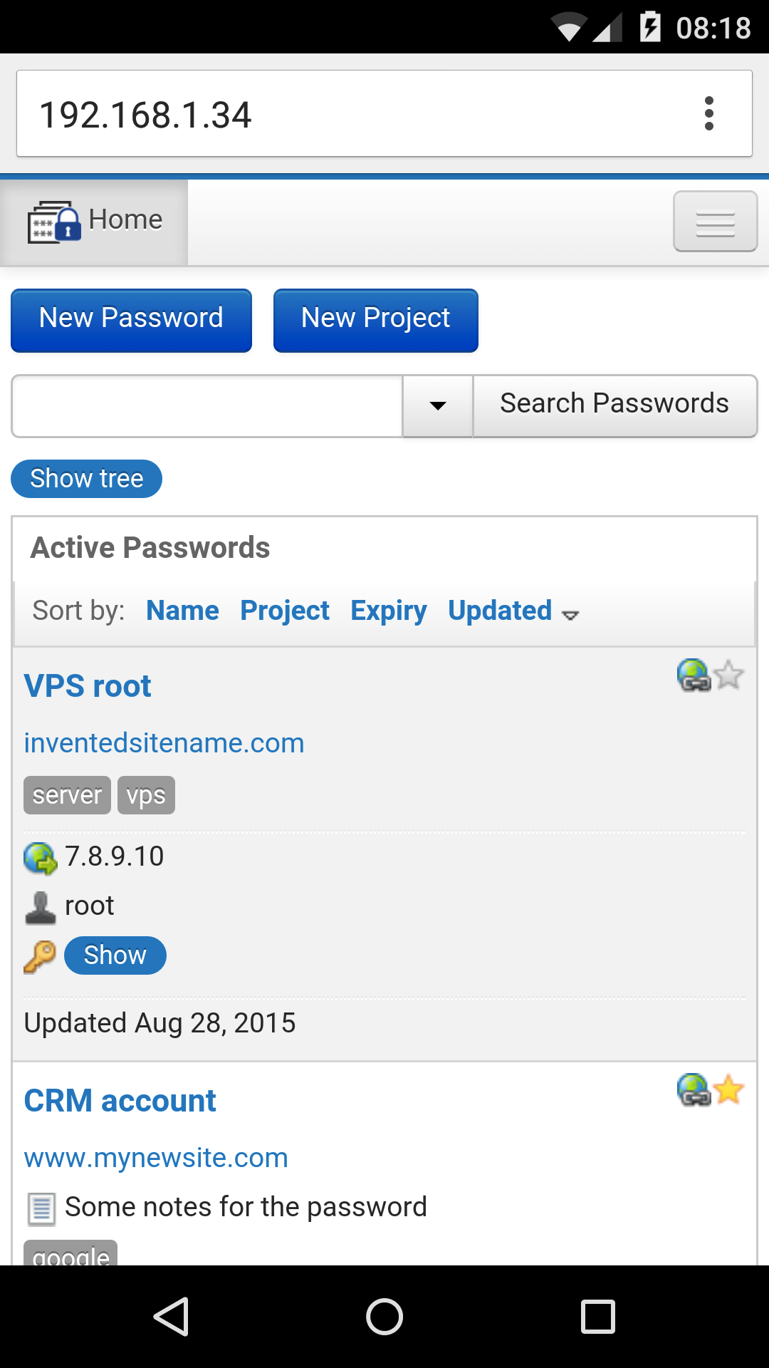 Team Password Manager Passwords List View in an Android